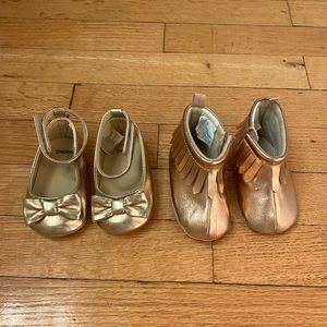 Two pairs of Baby Girl Shoes Gold